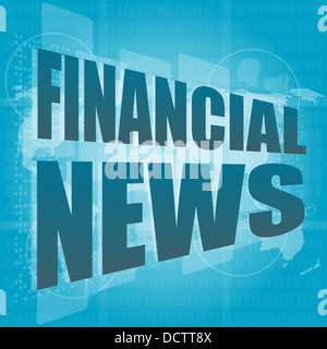 financial news words on digital touch screen - Stock Photo