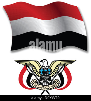 yemen shadowed textured wavy flag and coat of arms against white background, vector art illustration - Stock Photo
