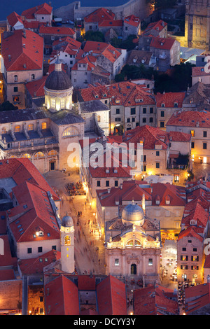 Dubrovnik Croatia. Luza square and Cathedral of the Assumption of the Virgin Mary (down right) - Stock Photo