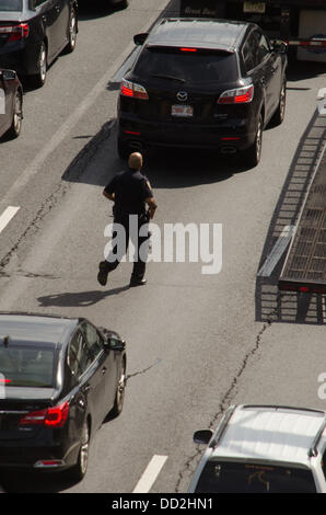 New York, USA. 23rd Aug, 2013. Fort Lee police, PAPD, and NYPD police search for man in stolen unmarked police car - Stock Photo