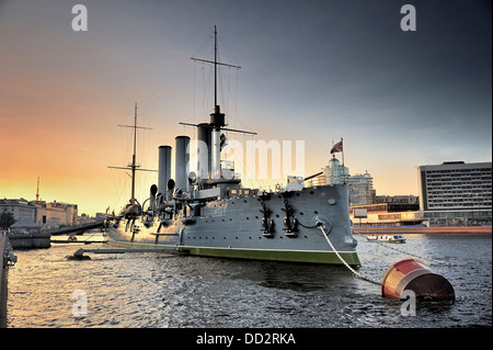 Linear cruiser Aurora, the symbol of the October revolution in Russia - Stock Photo
