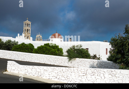 Greece, Mykonos, Ano Mera, the Panagia Tourliani monastery - Stock Photo