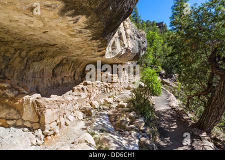 Sinagua cliff dwellings at Walnut Canyon National Monument, near Flagstaff, Arizona, USA - Stock Photo