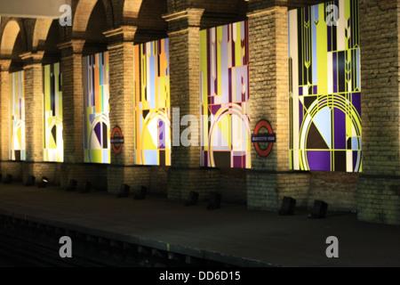 Pillars in Gloucester Road Underground Station - Stock Photo