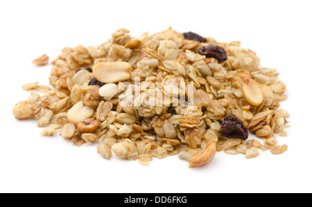 Pile of granola cereal with raisins and nuts isolated on white - Stock Photo
