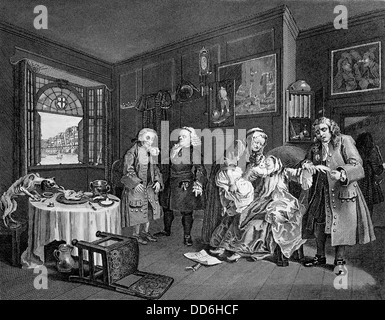 Marriage A La Mode, death of the Countess.From the original by William Hogarth.Engraved by J. Mansell. - Stock Photo