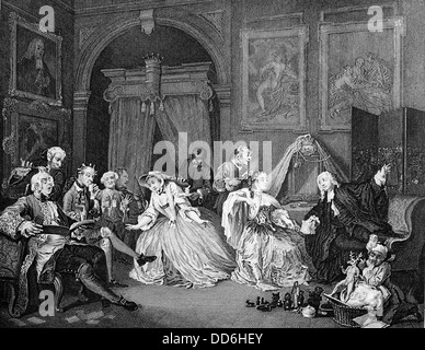 Marriage a la Mode. The Toilette Scene. From the original by William Hogarth. Engraved by Armstrong. - Stock Photo