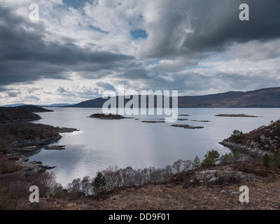 Looking north west towards the Applecross peninsula from Plockton, North West Highlands, Scotland, UK - Stock Photo