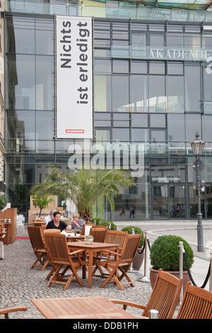 Akademie Der Kunste - Acamdemy of Arts with Hotel Adlon Cafe Terrace in Pariser Platz Square, Brandenburger Gate; - Stock Photo