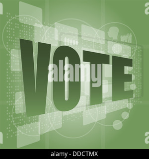 The word vote on digital screen, social concept - Stock Photo
