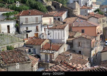 Houses, Pietrapertosa village, Basilicata, South Italy. In Gallipoli Cognato National Park. Dolomiti Lucane mountain - Stock Photo