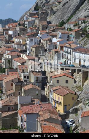 Houses, Pietrapertosa village, Basilicata, South Italy. In Gallipoli Cognato National Park. Dolomiti Lucane mountain - Stock Photo