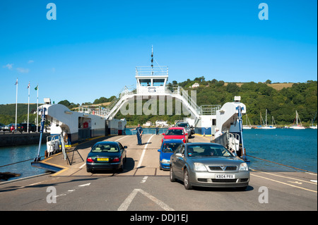 Car ferry on the river at Dartmouth, Devon, England, UK. Kingswear upper ferry. - Stock Photo
