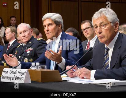 Washington DC, USA. 03rd Sep, 2013. United States Secretary of Defense Chuck Hagel, right, U.S. Secretary of State - Stock Photo