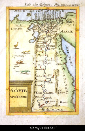 Map of Egypt preserved at IFAO (Institut Français d´Archeologie Orientale) archives. Cairo, Egypt - Stock Photo