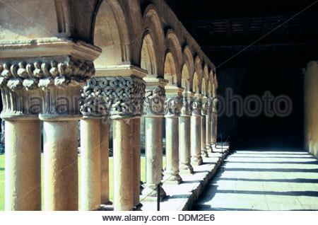Cloisters, Collegiate Church of St Illana, Santillana del Mar, Spain.  Artist: Elizabeth Disney - Stock Photo