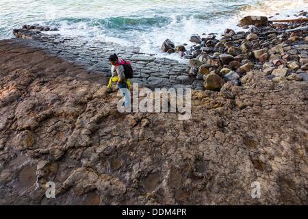 Largest ichnites of sauropod dinosaurs, La Griega Beach, Lastres - Llastres Village, Colunga Council, Asturias, - Stock Photo