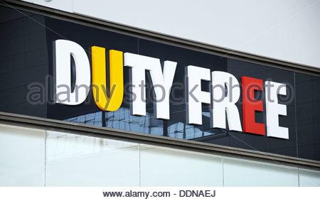 Duty Free shop sign inside Terminal 3, Malaga airport, Malaga, Malaga Province, Costa del Sol, Andalucia, Spain, - Stock Photo