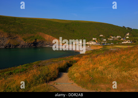 Crackington Haven beach North Cornwall between Bude and Tintagel England UK South West Coast Path beautiful sunny - Stock Photo