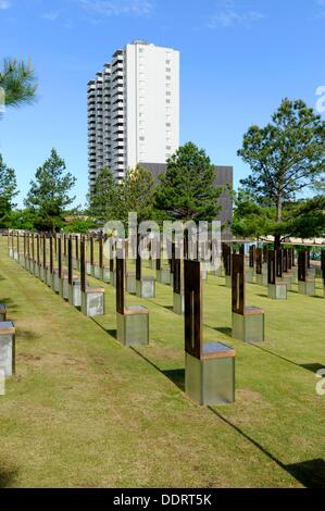Field of empty chairs Oklahoma City National Memorial Bombing Site Alfred P Murrah Building - Stock Photo