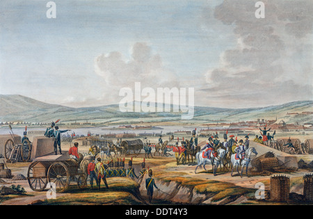 Napoleon visiting the siege works at Danzig led by Marshal Lefebvre, 9th May 1807. Artist: Francois Jacques Dequevauviller - Stock Photo