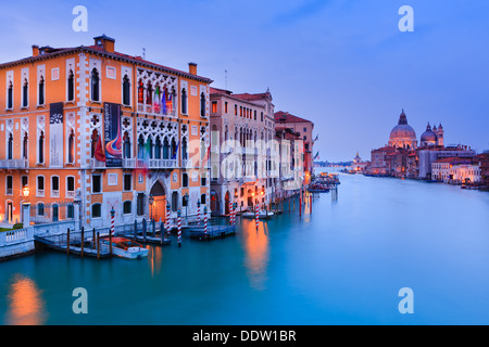 Sunset in Venice from the Accademia Bridge with the view on the Grand Canal - Stock Photo