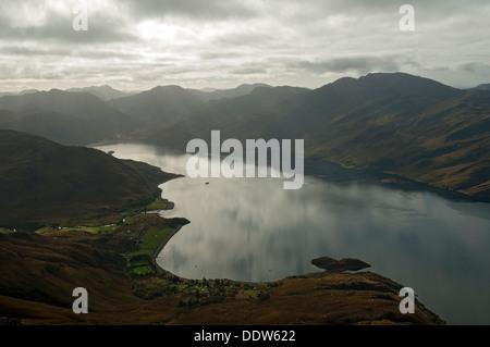 Loch Hourn and the hills of Knoydart from Beinn Sgritheall, Highland region, Scotland, UK - Stock Photo