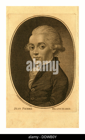 Jean Pierre Blanchard, London Published by I. Sewel, Cornhill, July 1st, 1785 , Half-length portrait of French balloonist - Stock Photo