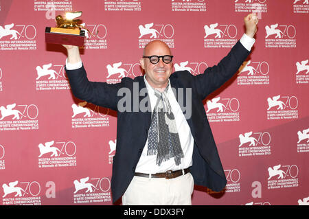 Venice, Italy. 07th Sep, 2013. Gianfranco Rosi with Golden Lion for the best Film 'Sacro GRA' during the award winners - Stock Photo