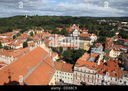 Elevated view over Vilnius Old Town - Stock Photo
