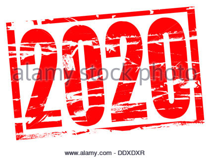 Digital composition - rubber stamp effect 2020 - Stock Photo