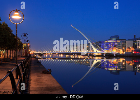The Samuel Beckett Bridge (2009) by Santiago Calatrava in Dublin, Ireland - Stock Photo