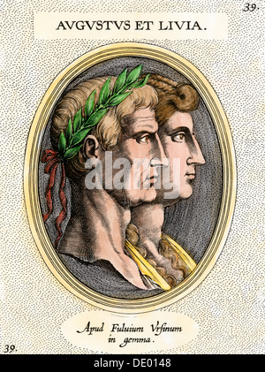 Roman Emperor Augustus and his wife Livia (Julia Drusilla). Hand-colored etching - Stock Photo