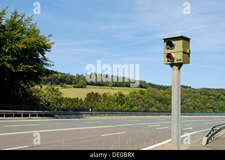 Speed limit enforcement, traffic control, country road, Talbruecke Ronnewinkel bridge, Olpe, Ebbegebirge nature - Stock Photo