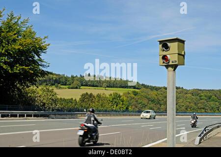 Motorcycle, traffic, speed limit enforcement, traffic control, country road, Talbruecke Ronnewinkel bridge, Olpe - Stock Photo