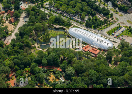 Aerial view, ZOOM Erlebniswelt world of experience, Gelsenkirchen Zoo, Arizona world of experience, Gelsenkirchen, - Stock Photo