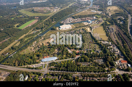 Aerial view, Zoom Erlebniswelt zoo, Gelsenkirchen, Ruhr area, North Rhine-Westphalia - Stock Photo