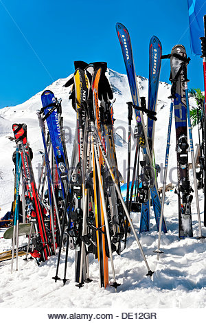Skis in the snow, Serfaus Fiss Ladis ski area, Tyrol, Austria, Europe - Stock Photo