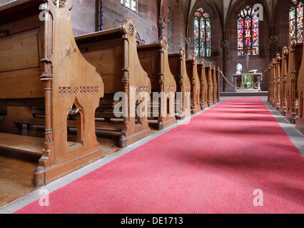 Church pews, Church of Sts. Peter and Paul, Benedictine monastery of Hirsau Abbey, Calw, Northern Black Forest - Stock Photo