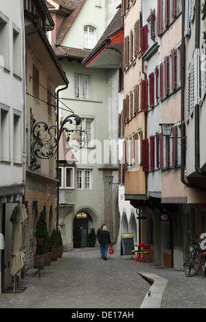Row of houses in the historic district, Upper historic district, Zug, Central Switzerland, Switzerland, Europe - Stock Photo