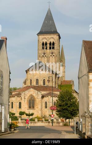 The Romanesque church of Saint-Menoux, Bourbonnais, Allier, Auvergne, France, Europe - Stock Photo