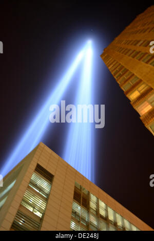 NY, NY, USA. 09th Sep, 2013. Tribute in Light shines near Ground Zero in Lower Manhattan. Credit:  Christopher Penler/Alamy - Stock Photo