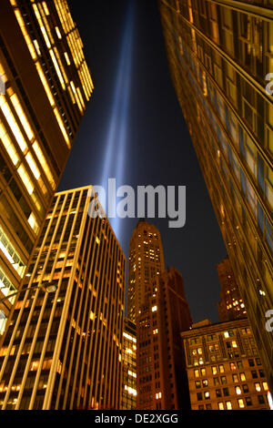New York, USA. 10th Sep, 2013. Tribute in Light as seen from Lower Manhattan. Credit:  Christopher Penler/Alamy - Stock Photo