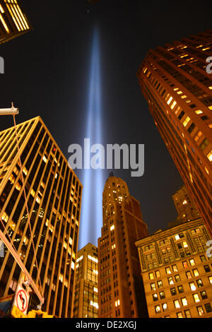 New York, USA. 10th Sep, 2013. Tribute in Light as seen from the streets of Lower Manhattan. Credit:  Christopher - Stock Photo