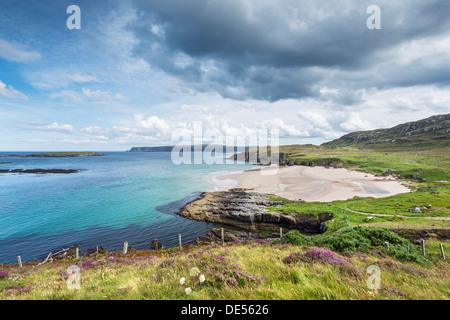Coastal landscape with Sangobeg Beach, Durness, Sutherland County, Highland, Scotland, United Kingdom - Stock Photo
