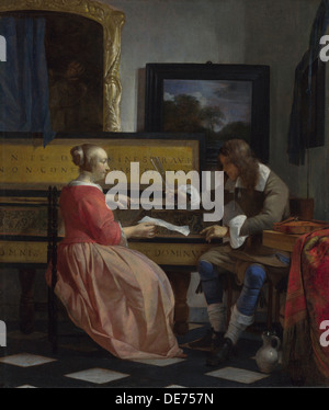 A Man and a Woman seated by a Virginal, ca 1665. Artist: Metsu, Gabriel (1629-1667) - Stock Photo