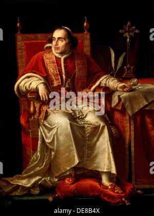 'Portrait of Pope Pius VII', 1817. Artist: Jean Baptiste Joseph Wicar - Stock Photo