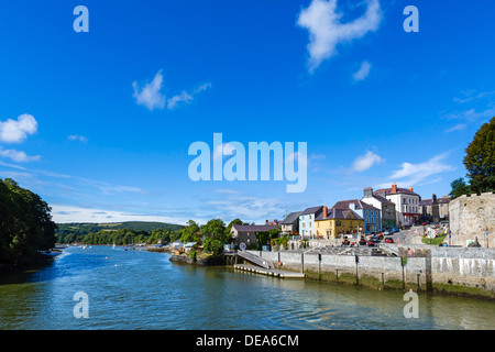 View of the town from bridge over the River Teifi, Cardigan, Ceredigion, Wales, UK - Stock Photo