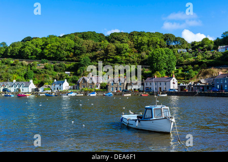 Boats in the harbour in the seaside village of Lower Fishguard, Pembrokeshire, Wales, UK - Stock Photo