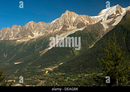 Chamonix Valley with the peaks of Aiguille du Midi and Mont Blanc du Tacul, Chamonix, Savoy, France, Europe - Stock Photo
